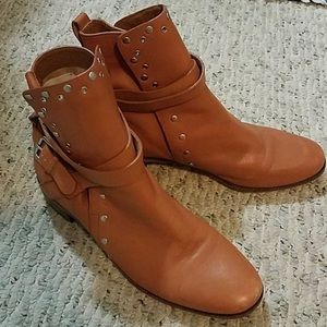 See by Chloe Tan Leather Studded Booties Sz 40